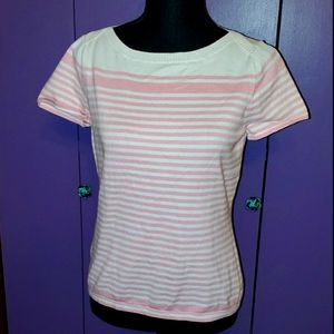 Pink & white striped Talbots top NWT petite small